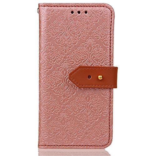 iPhone 7 Plus 5,5 Coque, Voguecase Étui en cuir synthétique chic avec fonction support pratique pour Apple iPhone 7 Plus 5,5 (Fresques européennes-Rose)de Gratuit stylet l'écran aléatoire universelle Fresques européennes-Rose Or
