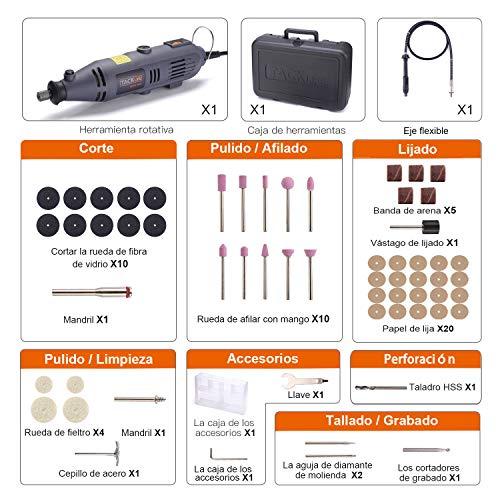 Herramienta rotativa,  Tacklife RTD34AC Amoladora eléctrica 135W con 60 accesorios,  10, 000- 32, 000 rpm,  ideal para grabar,  cortar,  pulir,  lijar,  taladrar,  etc.