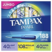 ‏‪Tampax Pearl Plastic Tampons, Light/Regular/Super Absorbency Multipack, 188 Count, Unscented (47 Count, Pack of 4-188 Count Total) - Packaging May Vary‬‏