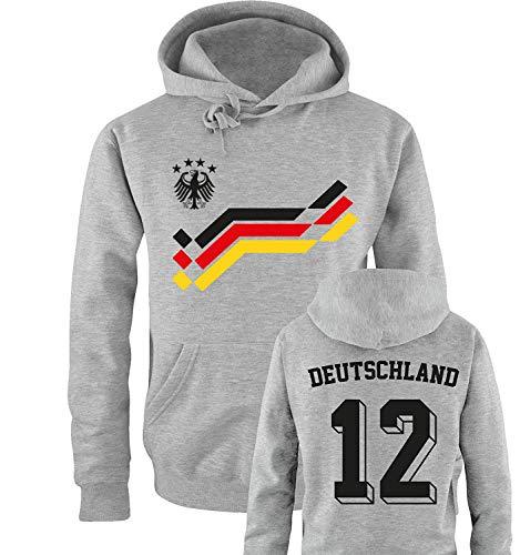 Comedy Shirts EM 2016 - Retro-Trikot - Deutschland - 12 - Herren Hoodie - Grau/Schwarz-Rot-Gelb Gr. M