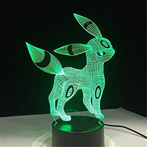 n 3D Acryl Nachtlicht USB Schlaf Licht 3Aa Batterie 7 Farben Ändern Tischlampe Schlafzimmer Dekor Kinder Geschenk ()