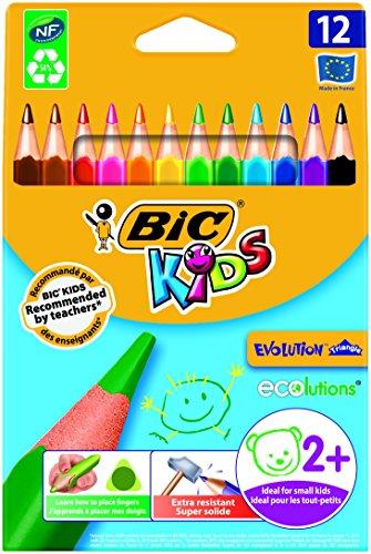Bic Kids ECOlutions Evolution Buntstifte | Dreikant Farbstifte für Kinder ab 2 Jahren | Ergonomisch | Fördert richtige Handhabung | Bruchsichere Mine | Ohne Holz | Buntstifte Set mit 12 Buntstiften
