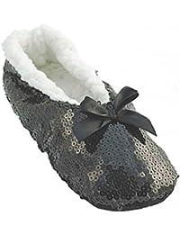 Ladies Sequinned Indoor Slipper Sock Mehrere Farben & Größen