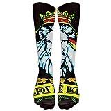 sexy world Old Flag Of Ethiopia Lion Of Judah Rastafarian Reggae Crown Outdoor Athletic Long High Sock Stocking 50cm(19.6 inch)
