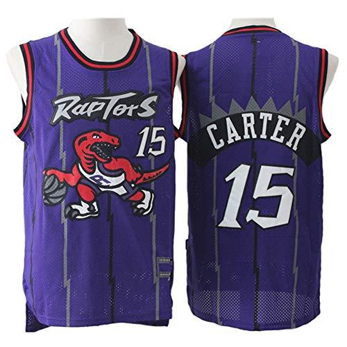 Carter Uniform (Herren Trikot, NBA Vince Carter # 15 Toronto Raptors Retro Komfortabel/Leicht/Atmungsaktiv Bestickte Netz-Sport-T-Shirts, Unisex Basketball Fan Uniform,XXL(190CM/95~110Kg))