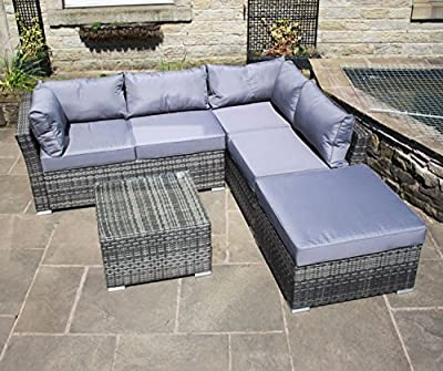 Rattan Outdoor Garden Furniture Corner Sofa Set in Grey