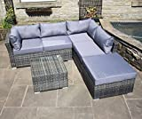 Rattan Outdoor Garden Furniture Corner Sofa Set in Grey