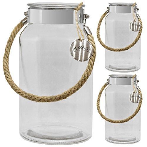 Dekovita Vorratsglas 3er Set 5l H:30/D:16/Ö:10,6cm Kordel Edelstahl Gartenlaterne Glasbehälter Dekoglas Windlicht Vase