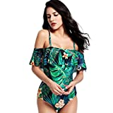 BYSTE Donne Costume Da Bagno A Balze Swimwear Di Colore Solido Casuale Spiaggia Di Sabbia Push Up Bikini Body Beachwear (Menta verde, XL)