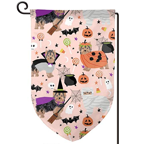 vintage cap Yorkshire Terrier Yorkie Halloween costu Polyester Garden Flag House Banner 12.5 x 18 inch, Two Sided Welcome Yard Decoration Flag for Wedding Party Home Decor