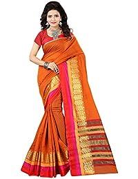 Orange Coloured Ethnic Women's Cotton Saree With Blouse Piece By VASTRA