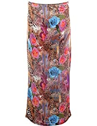 FANTASIA BOUTIQUE ® Ladies Women's Leopard Rose Wave Cap Sleeve Crop Top Midi Pencil Skirt 8-14