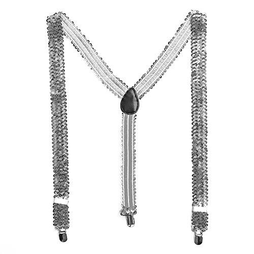 Bunte Pailletten Y- Hosenträger Glitzer Bundhalter (Silber)
