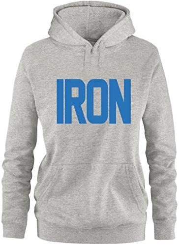 EZYshirt® Iron Damen Hoodie Grau/Blau