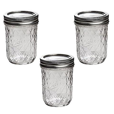 Ball Mason Quilted Crystal Jelly Jar 8oz/3er Set