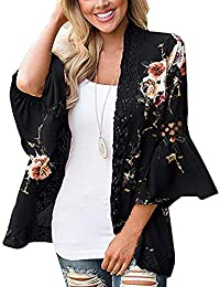 Walant Femmes Floral Lâche Bell Manches Casual Kimono Cardigan Veste Gilet  Boho Dentelle Patchwork Cover Blouse 02e1a47965c