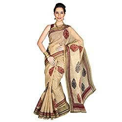 PavechaS Poly Cotton Saree (Mk1630_Beige)
