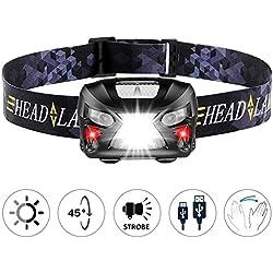 LED Linterna frontal, Zgnen USB recargable linterna faro sensor impermeable para correr, caminar, leer, acampar al aire libre, actividades indoor