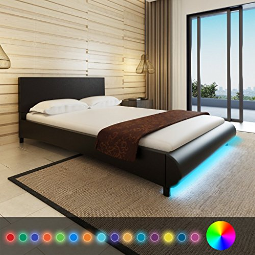 Anself Polsterbett Doppelbett Bett Ehebett aus Kunstleder mit LED-Streifen 140x200cm ohne Matratze Schwarz
