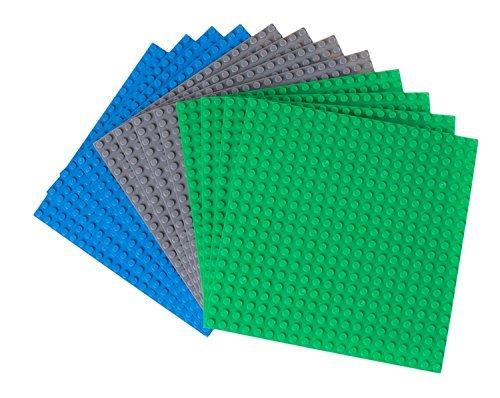 Strictly Briks - Pack de 12 Bases para Construir - Compatibles con Todas Las Grandes Marcas - 15,24 x 15,24 cm - Verde, Azul y Gris