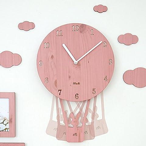 Yi. LAN. Yi Clock Rocking Creative Cartoon Wall Clock Drawing simple personalization Clocks Child Bedrooms Mute Cute Clock