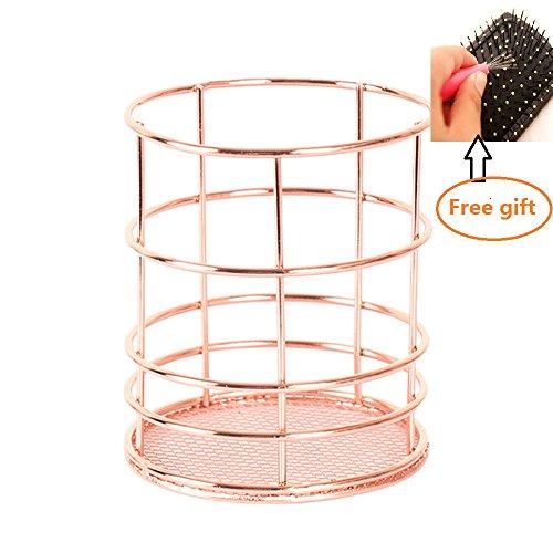 Soporte para brochas de maquillaje Ularma con patrón hueco, diseño de rosa, para organizar brochas, Rose Gold- Round, 10 cm