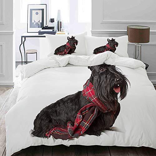 MOKALE Bettwäsche-Set, Mikrofaser,Schottenstoff-Scottish-Terrier im roten Schal auf Hundeentzückendem Tier,1 Bettbezug 135 x 200cm+ 2 Kopfkissenbezug 80x80cm -