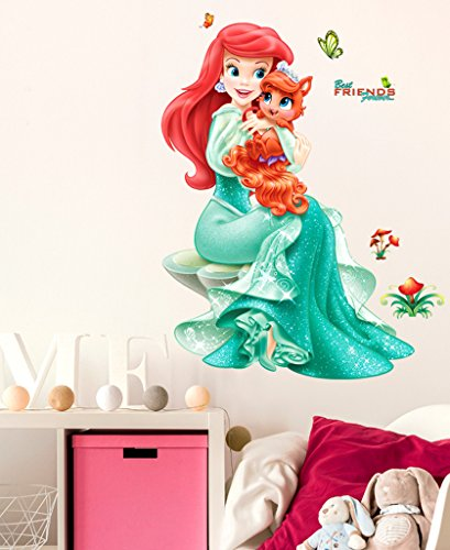 Decals Design Wall Stickers Pretty Princes with Cute Little Cat Girl's Bedroom Wall Vinyl (PVC Vinyl, 50 x 70 cm, Multicolor)
