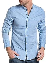 BLZ jeans - Chemise homme été bleu ciel col mao
