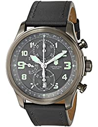 "Victorinox Men's 241526 ""Infantry"" Stainless Steel Automatic Watch with Grey Leather Band"