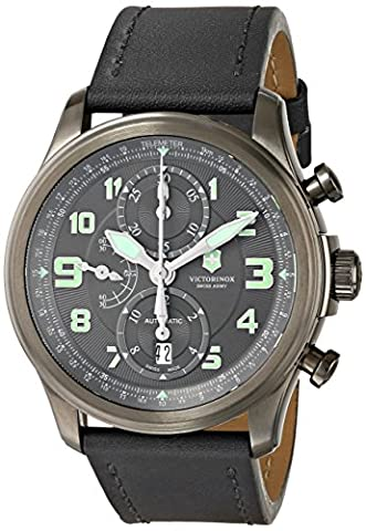 Swiss Army Infantry Vintage Automatic Chronograph PVD Steel Mens Strap Watch 241526