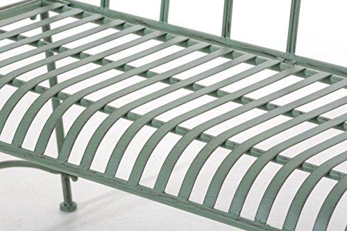 CLP Gartenbank DIVAN im Landhausstil, aus lackiertem Eisen, 106 x 51 cm – aus bis zu 6 Farben wählen Antik Grün - 6