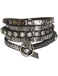GOOD WORK(S) Bracelet en cuir avec incrustations strass et argentées