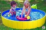 Falt Planschbecken Kinderpool Babypool Faltbar Wasserspaß Wasserspiel Abdeckplane (Falt-Planschbecken Set)
