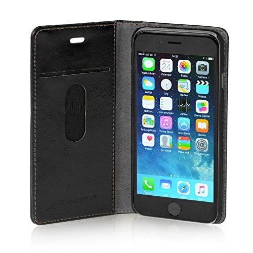 """Logic-Seek Case für iPhone 6 (4,7 Zoll) Hülle Leder Flip Cover Schutzhülle - Rote Lederhülle im Book-Style mit Standfunktion und Kartenfach für Apple iPhone 6 (4,7"""") - Rot Book Style Schwarz"""
