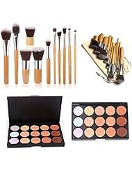 ESYN Kit de Concealer de 15 colores Paleta Profesional Set con 11pcs bambú cepillo Cara Crema Contorno de maquillaje