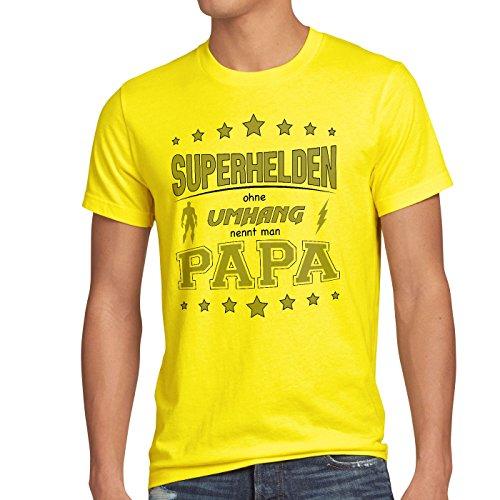 style3 Superhelden ohne Umhang nennt man Papa Herren T-Shirt Fun Shirt Vater Dad Gelb
