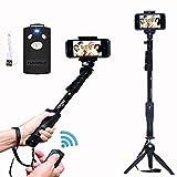 #7: UNITEKH YT 1288 2 In 1 Adjustable Selfie Stick Monopod And YT 228 Mini Tripod For Smartphones & DSLR Cameras With Bluetooth Remote Shutter