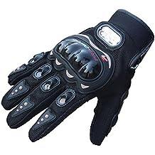 Malloom® 2015 Par Guantes Fibra Carbono PU Protección Negro para Moto Bici Motocicleta (M)