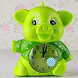 Upstudio Despertador Lovely Cartoon Animal Silent Alarm Clock con luz de Noche para niños Kids Students (Verde)