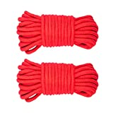 2 Pedazos Cuerda Trenzada de Algodón Multiusos para Proyectos de Manualidades - Rojo
