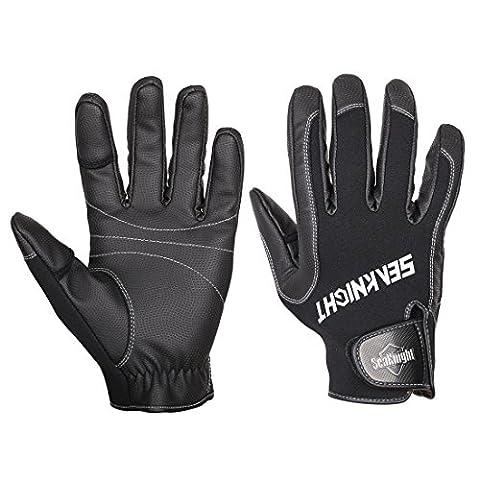 seaknight hommes gants de pêche en néoprène pour SK02Outdoor Sport antidérapant coupe-vent soleil Gants de protection pour pêche chasse d'équitation XL noir
