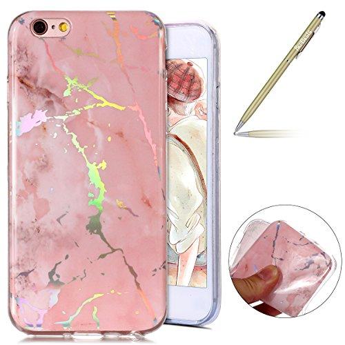 Herbests Handy Hülle iPhone 6S Plus 5.5 Schutzhülle Silikon Handytasche Marmor Muster Glänzend Glitzer Kristall Luxus Bling Transparent Durchsichtige Tasche TPU Bumper Case,Rosa