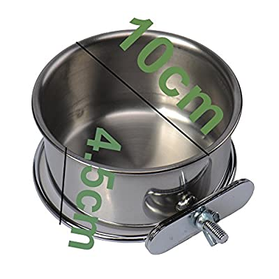 Stainless Steel Dog Bird Feeding Bowls with Holder For Cages and Crates 3 Sizes