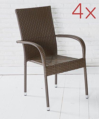 4er Set Armlehnstühle Gartenstühle Stapelstühle in braun mit Armlehnen exkl. Auflage stapelbar...
