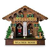 Fancylande Wetterhäuschen Wetterhaus aus Echtholz Thermometer und Hygrometer Wetterstation Dekoration Wandbehang Ornamente Freund