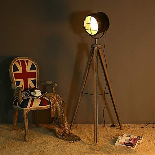 Home Wall Lamp Vintage Stativ Stehlampe, Spot Focus Searchlight Kupfer (Antik) Zu Hause Dekorative, Intelligente Fernbedienung Dimmen Birne 9W,Black