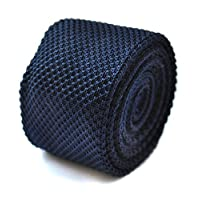 Frederick Thomas plain navy blue knitted tie
