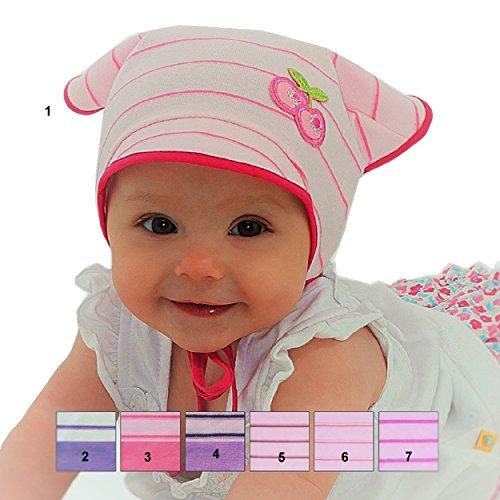 Kopftuch Dreiecktuch Stirnband Mütze Schirmmütze für Mädchen Baby Kinder Baumwolle mit Muster - Streifchen und Aplikation. (44 / 46 .. +5 cm Dehnbar., Rosa / Pink-weiß-streifen u. Pink Umrandung .. Nr. 6)