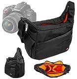 Sac de transport bandoulière DURAGADGET avec intérieur rembourré et modulable pour appareils photo réflex Nikon D7000, D3200, D3100, D300s, D90